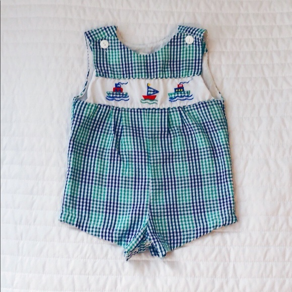 Boys BLUE and NAVY SEERSUCKER Jon Jon Shortall Baby Romper  3 6 9 12 M Months